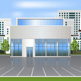 Office building with reflection and parking Stock Photos