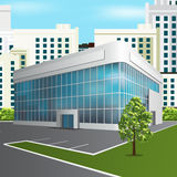 Office building with reflection on the street background Royalty Free Stock Photo