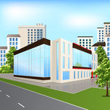 Office building with reflection on the street background Royalty Free Stock Photos