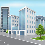 Office building with reflection on the street background Royalty Free Stock Images