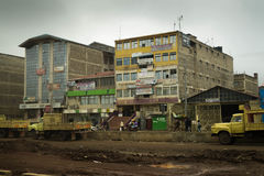 Office building and road under construction in developing countr. Nairobi, Kenya - December 2, 2016: Office building and road under construction leading to it Stock Images