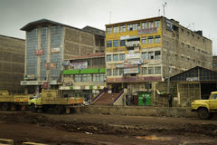 Office building and road under construction in developing countr. Nairobi, Kenya - December 2, 2016: Office building and road under construction leading to it Stock Image