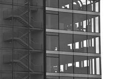 Office building – silhouette. Modern architecture – black and white silhouette - façade of an office building stock photo