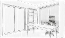 Office building sketch Stock Photography