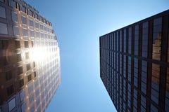 Office building on sky background Стоковая Фотография