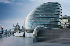 Office building on the south bank of the river Thames in London. At sunrise time stock photography