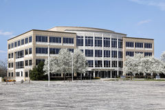 Office building in spring. Office building with blooming trees in spring Royalty Free Stock Photo