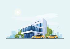 Office Building with Taxi Cars and City Background Stock Photo