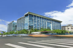Office building with traffic in motion blur Stock Photography