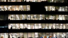 Office building viewed deep night stock footage
