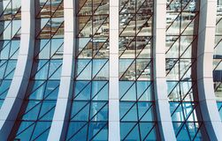 Office building window glass abstract pattern. Use for background. Airport building in Simferopol, Crimea Stock Photo
