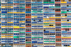 Office Building Windows. Front View Of An Office Building with Many colorful Windows Stock Photography