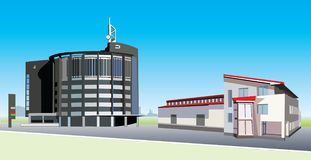 Office buildings. Two contemporary office buildings in vector vector illustration