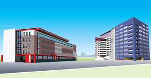 Office buildings. Two contemporary office building in vector stock illustration
