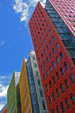Office buildings. Very colorful office buildings with a blue sky background Stock Photography
