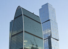 Office buildings. Two of the several office buildings of moscow business center, the city Royalty Free Stock Image