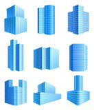 Office buildings. 9 office buildings icons set Royalty Free Stock Images