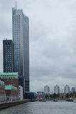 Office Buildings. Rotterdam skyline and the meuse river the Netherlands, Europe Royalty Free Stock Photography