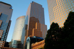 Office Buildings. The photo shows the office buildings of a modern city. These are the commercial center for any business Stock Photos