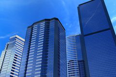 Office buildings. Different reflective office buildings 3D illustration stock illustration