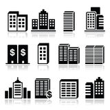 Office buildings, business center icons set. Vector icons set of company blocks  on white Royalty Free Stock Images