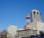 Office buildings at the business district in Hiroshima, Japan.  Royalty Free Stock Photo