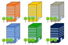 Office Buildings in different Color Variations. These are six office buildings in different color variations. It is a vector image Stock Images