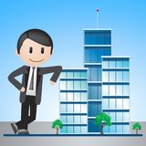 Office Buildings Displaying Corporate Cityscape 3d Illustration. Office Buildings Man Displaying Corporate Cityscape 3d Illustration Royalty Free Stock Photography