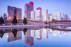 Office buildings in downtown Beijing at sunset tim Royalty Free Stock Photography