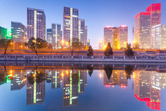 Office buildings in downtown Beijing at sunset tim Stock Images