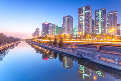 Office buildings in downtown Beijing at sunset tim Stock Photo