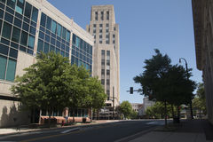 Office Buildings in Downtown Durham, North Carolina. Looking up from the street royalty free stock photos