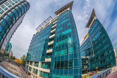 Office buildings ensemble located in a new business center on Be Stock Image