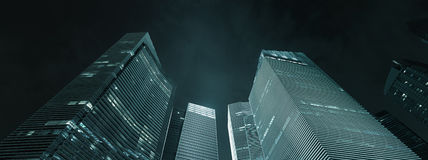 Office buildings exterior at night - modern business architectur Stock Photography