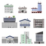 Office buildings flat. Business modern urban office buildings flat decorative icons set isolated vector illustration Stock Photo