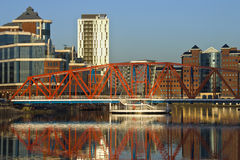 Office buildings - Greater Manchester - UK. Modern waterside office buildings at Salford Quays in Greater Manchester in the UK Stock Images