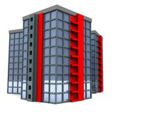 Office buildings group. 3d illustration, office buildings group isolated over white background Stock Photo