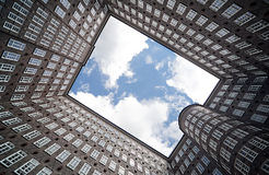 Office buildings in Hamburg. Shot from it's courtyard royalty free stock images