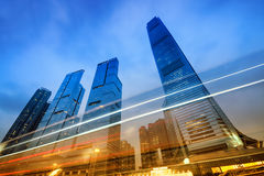 Office Buildings in Hong Kong. Office buildings (International Commerce Centre) at night in Hong Kong, China Stock Image