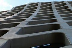 Office buildings. Illuminated interiors, glass façade, trendy finish, warsaw, poland stock image