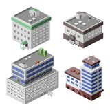 Office buildings isometric. Business modern 3d urban office buildings decorative icons set isometric isolated vector illustration Stock Images