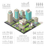 Office Buildings Isometric Infographics Stock Photography