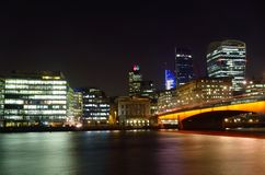 Office Buildings London by Night Stock Images