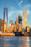 Office Buildings in Manhattan from river, New York City, USA Royalty Free Stock Image