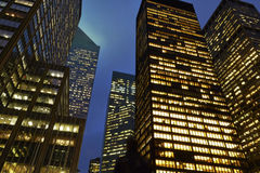 Office buildings in New York. Night view of corporate office buildings in New York Royalty Free Stock Images