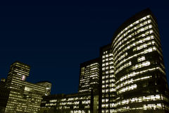 Office buildings at night. Zuidas, Amsterdam, Netherlands royalty free stock images