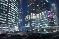 Office buildings at night Stock Photo