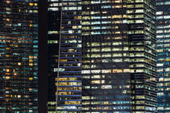 Office buildings at night in Singapore. Stock Photo