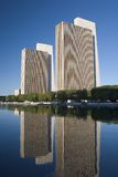 Office Buildings Reflections. Office Building reflecting in Pond Stock Images