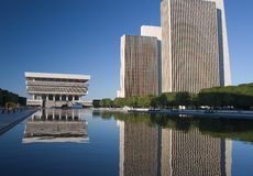 Office Buildings Reflections. In Pond royalty free stock images